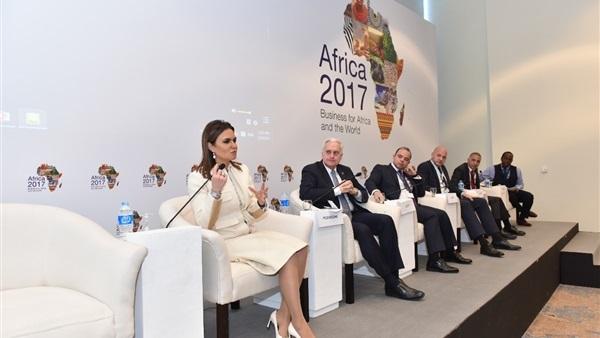 سحر نصر خلال ختام فعاليات منتدى أفريقيا