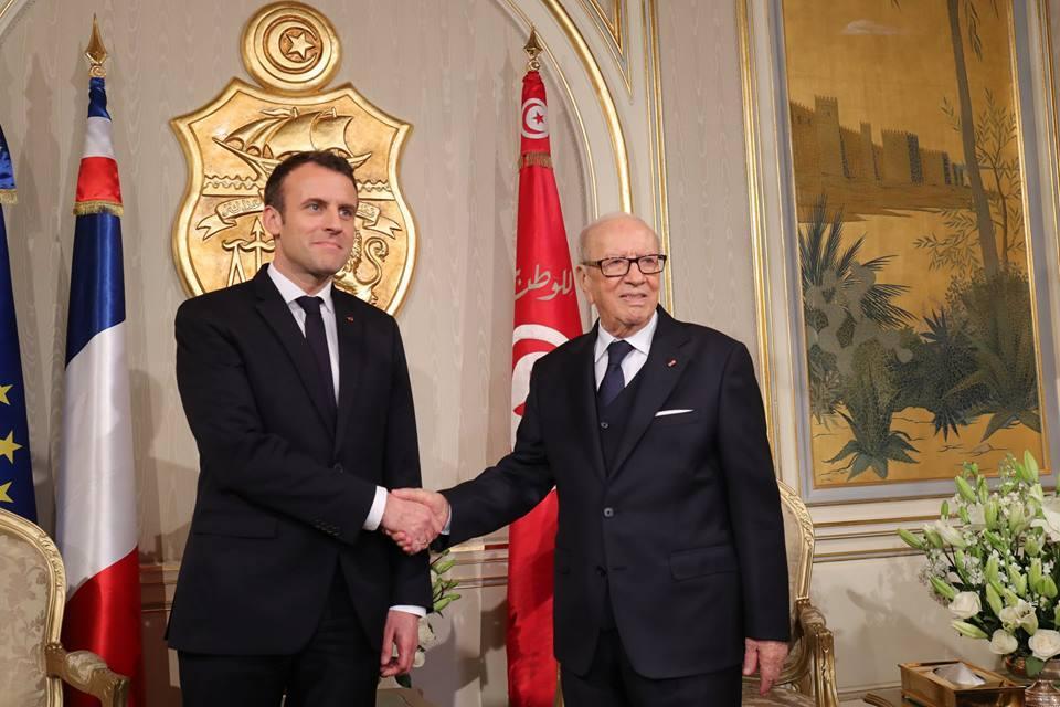 الرئيسان التونسى القائد باجى السبسى والفرنسى إيمانويل ماكرون