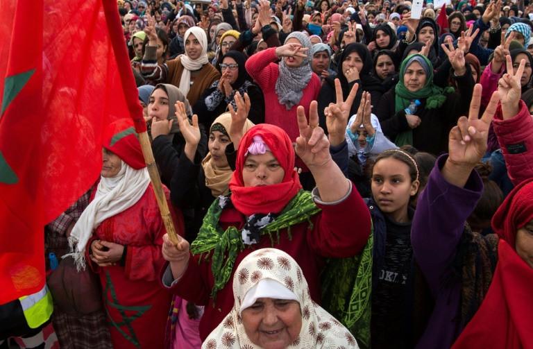 مغربيات يشاركن في تظاهرة ضد التهميش الاجتماعي