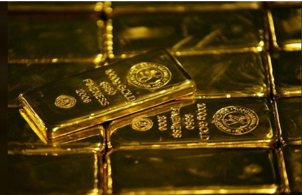 سبائك من الذهب في جنوب أفريقيا