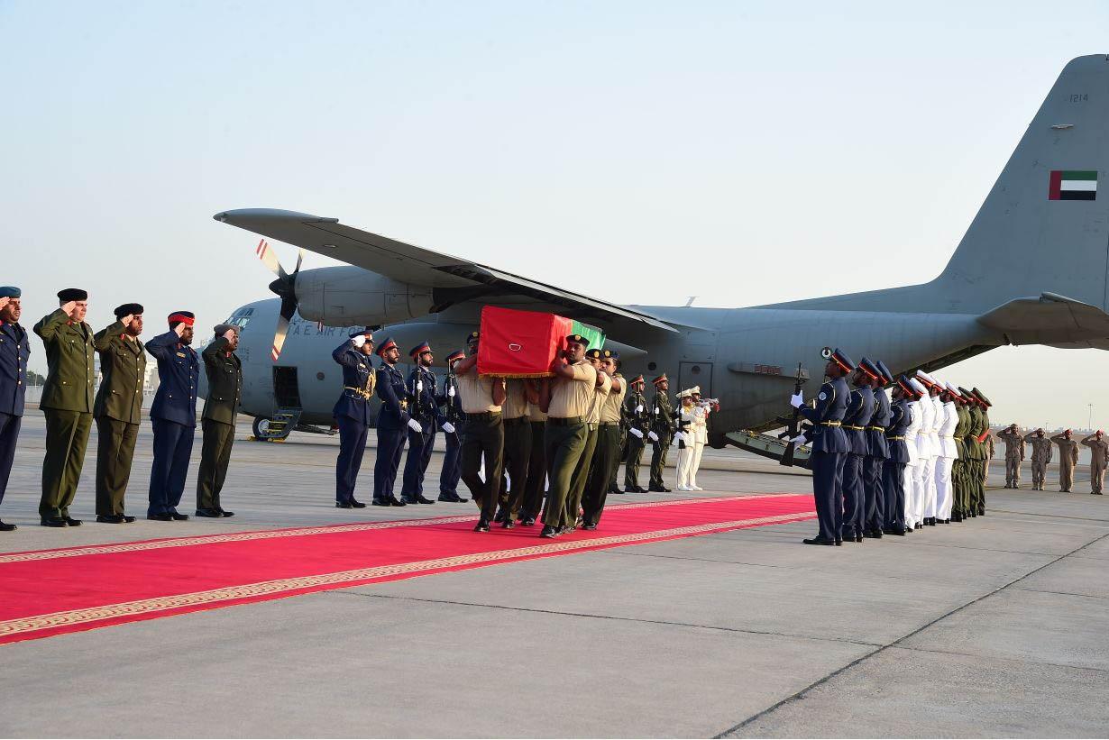 وصول جثمان الشهيد علي خليفة المسماري إلى مطار البطين بأبوظبي