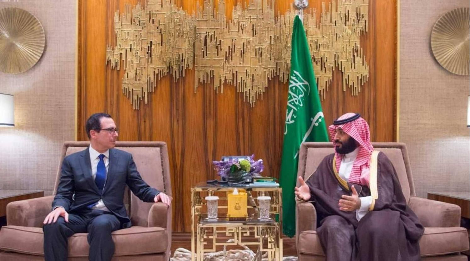 الأمير محمد بن سلمان و وزير الخزانة الأمريكي ستيفن منوشين