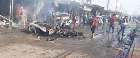 أثار التفجير الذي استهدف سوق في بلدة شمالي العراق