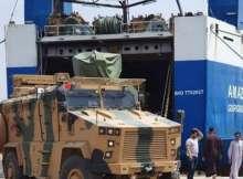 أحدى المدرعات القادمة من تركيا فى ميناء مصراته