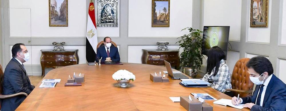 اجتماع الرئيس السيسي مع رئيس الوزراء ووزيرة التعاون الدولي