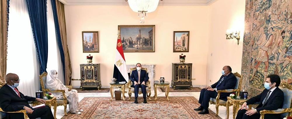 الرئيس السيسي خلال استقباله وزيرة خارجية جمهورية السودان