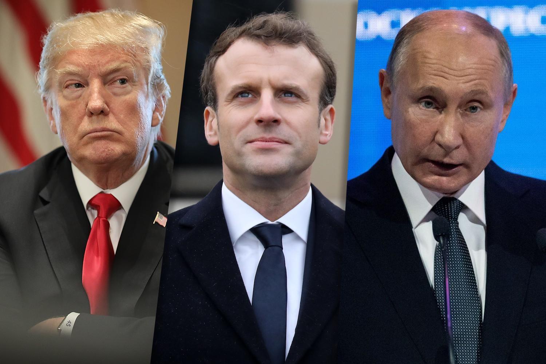 بوتين وماكرون وترامب
