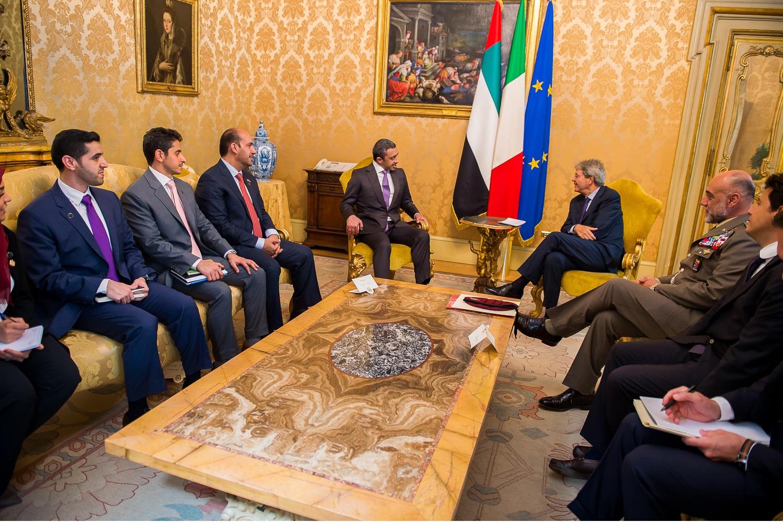 رئيس وزراء ايطاليا يستقبل عبد الله بن زايد