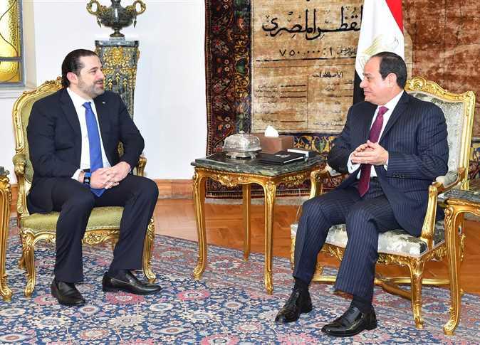 الرئيس المصري ورئيس الوزراء اللبناني المستقيل (أرشيفية)