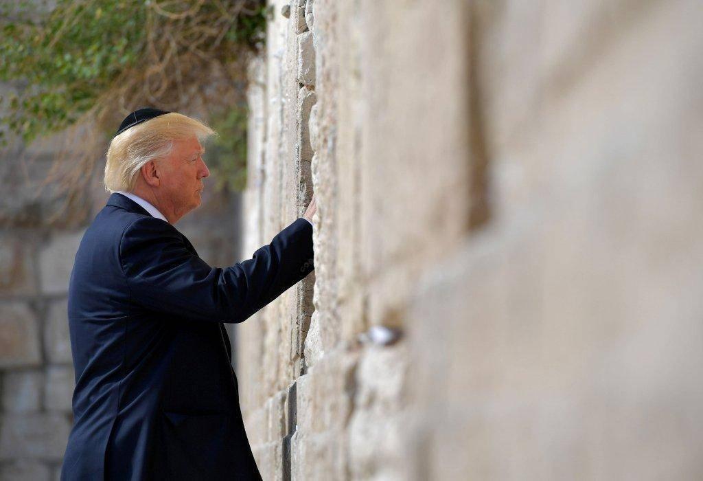 الرئيس الأمريكى دونالد ترامب خلال زيارته لحائط البراق