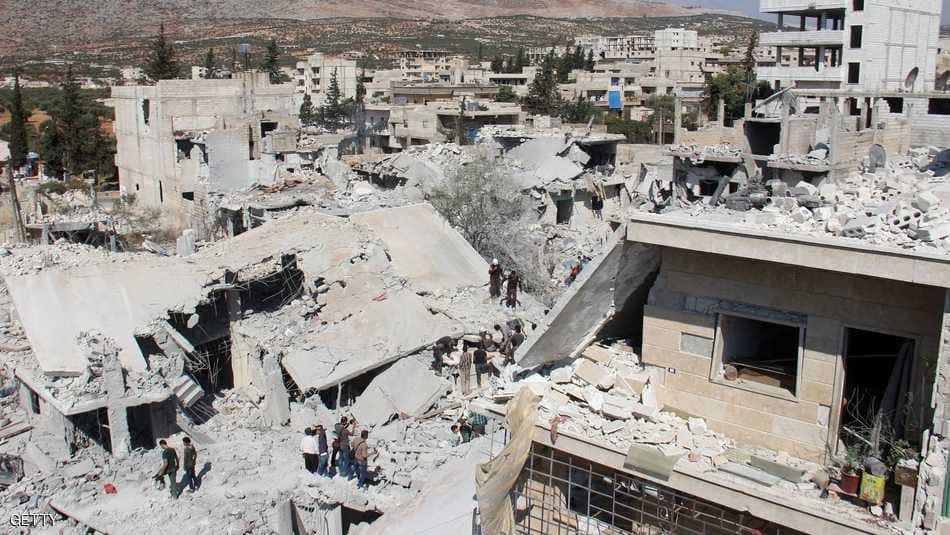 آثار قصف جوي تعرضت له إدلب -أرشيفية
