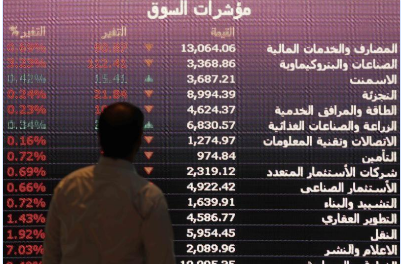 شاشة الكترونية تعرض أسعار أسهم بالبورصة السعودية في الرياض