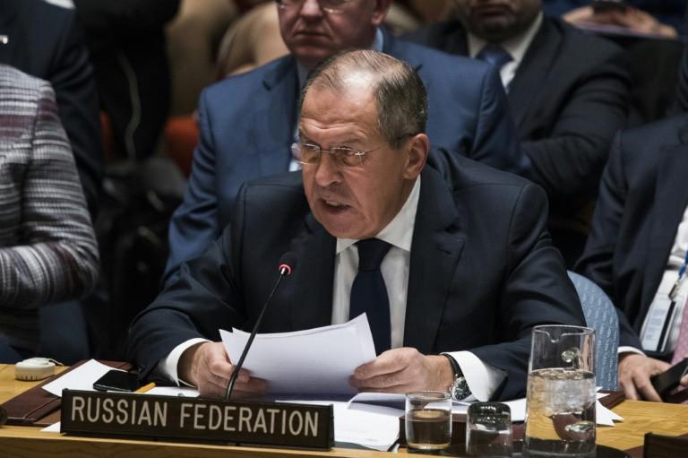 وزير الخارجية الروسي سيرغي لافروف خلال اجتماع لمجلس الامن الدولي