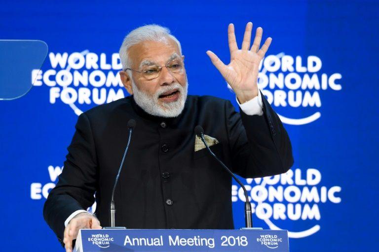 رئيس الوزراء الهندي ناريندرا مودي يلقي كلمة في افتتاح منتدى دافوس
