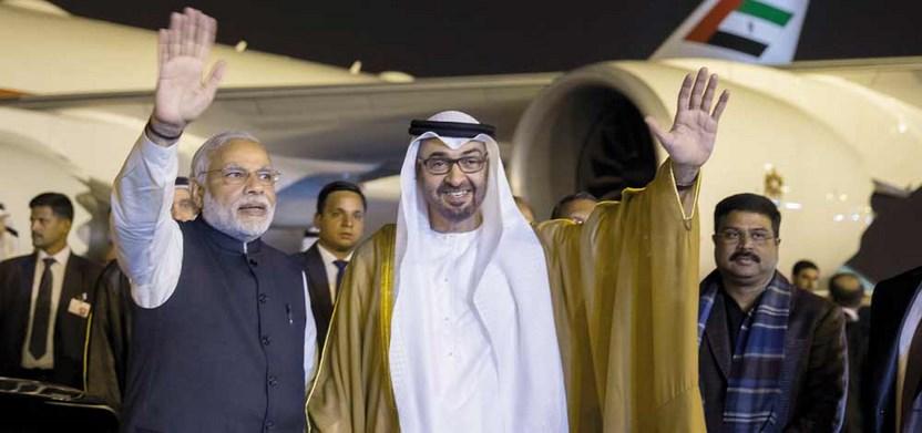 صاحب السمو الشيخ محمد بن زايد آل نهيان مع رئيس الوزراء الهندى