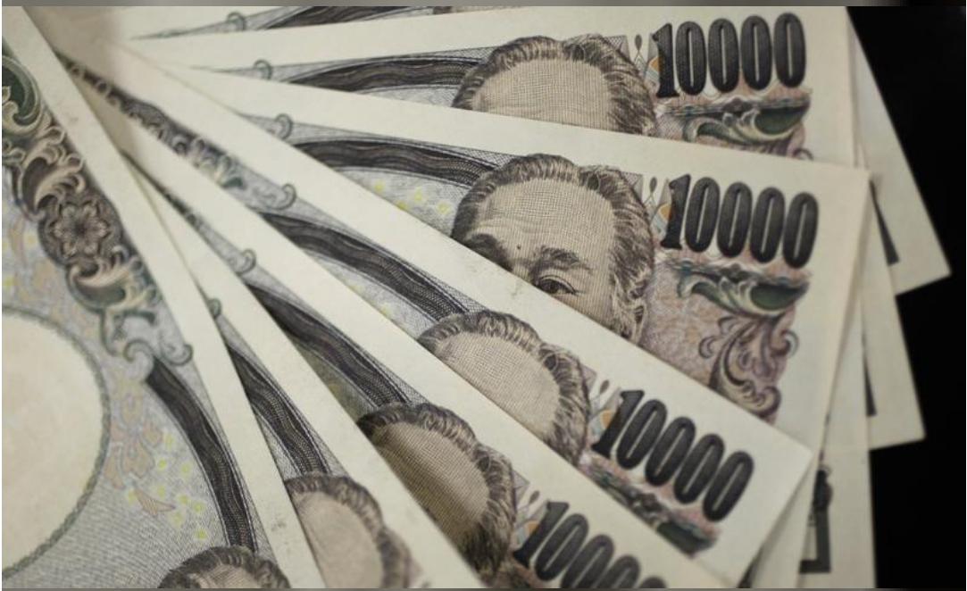أوراق نقد فئة 10000 ين في صورة توضيحية