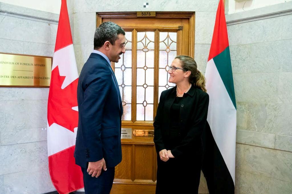 عبدالله بن زايد يلتقي وزيرة خارجية كندا