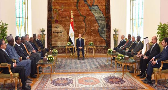 الرئيس عبدالفتاح السيسى خلال استقباله رؤساء وفود الدول المشاركة فى «أسبوع المياه»