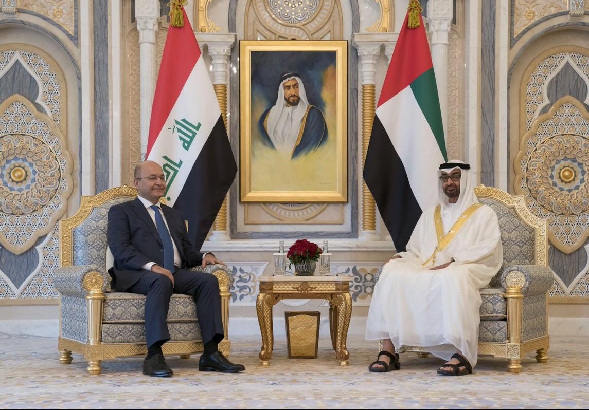 محمد بن زايد يستقبل الرئيس العراقي