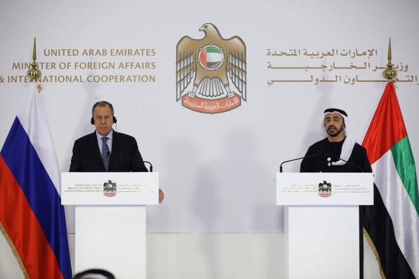وزيرى خارجية الإمارات وروسيا خلال المؤتمر الصحفي