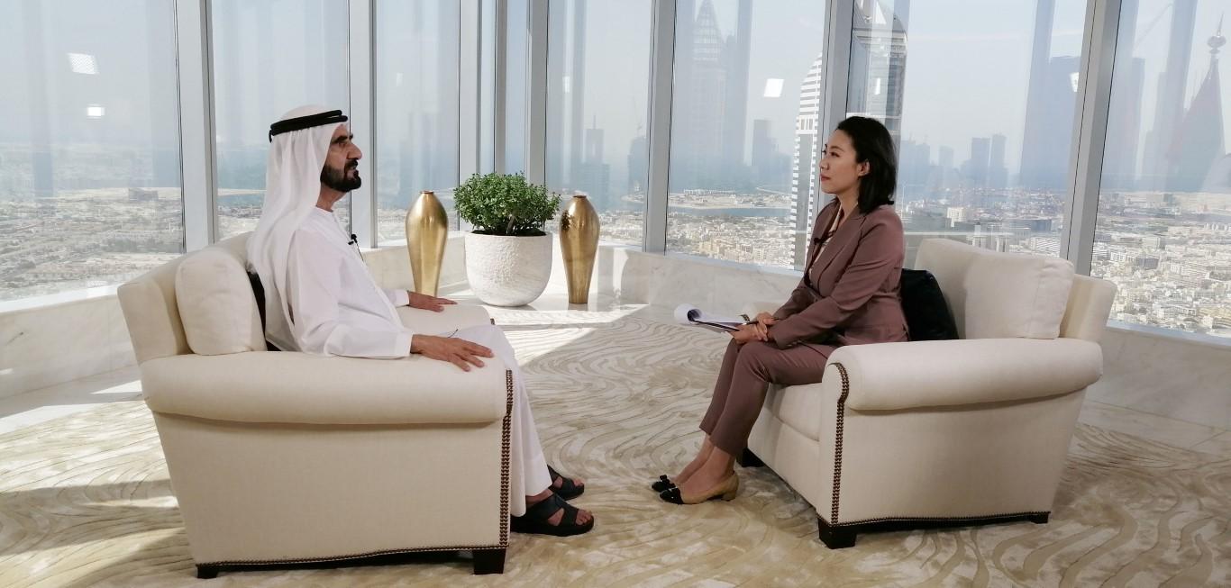 سمو الشيخ محمد بن راشد في لقاء مع التلفزيون الرسمي الصيني