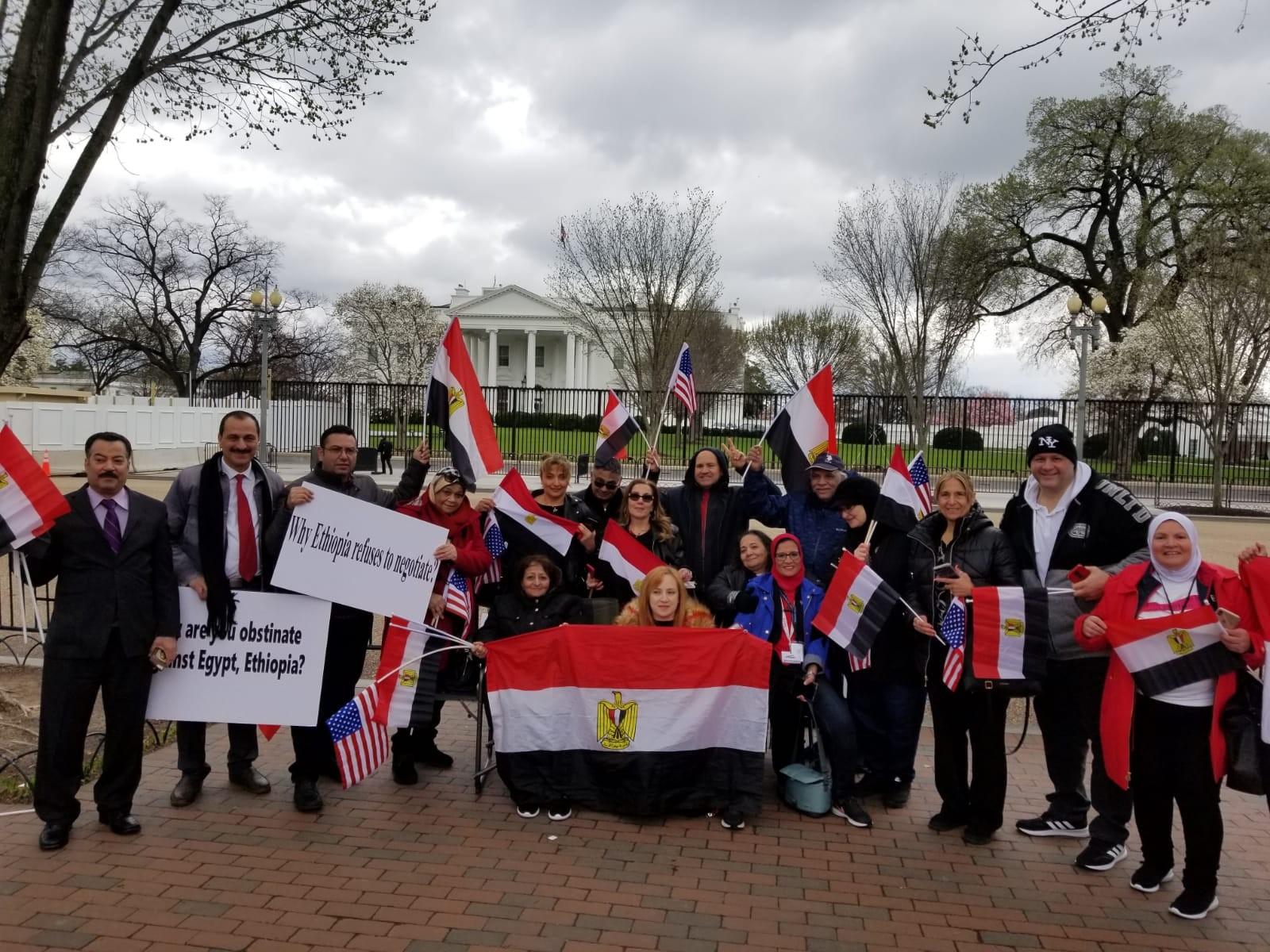 وقفة الجالية المصرية في امريكا للمطالبة بحقوق مصر المائية