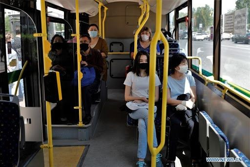 Passengers inside the bus in Kazakhstan