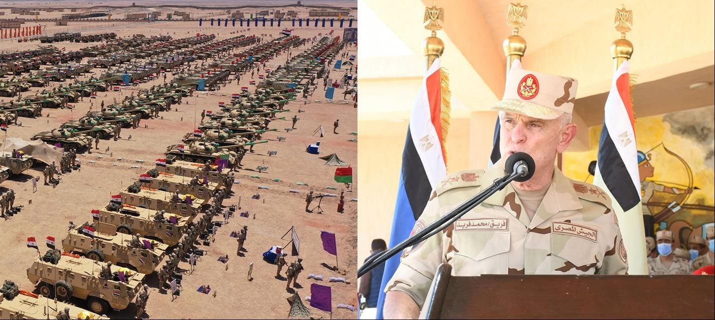 شاهد.. رئيس الأركان المصري يشهد إجراءات تفتيش الحرب للمنطقة الجنوبية