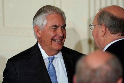 وزير الخارجية الأمريكي ريكس تيلرسون يحضر مراسم في البيت الأبيض في واشنطن