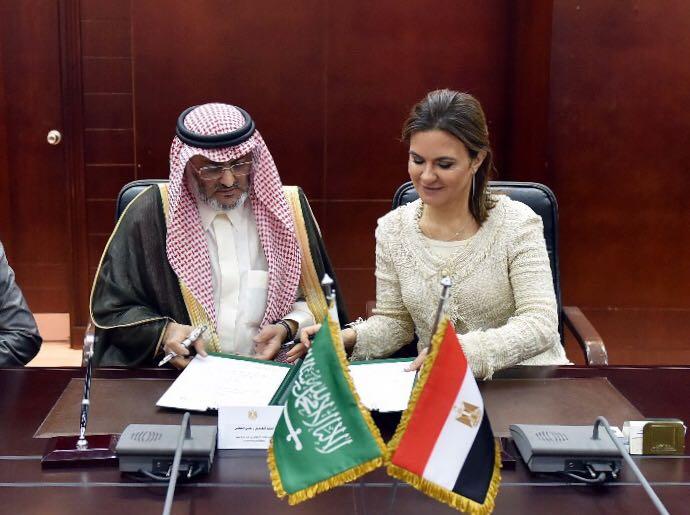 الوزيرة المصرية خلال توقيع الاتفاقيتين مع لجنة منحة السعودية