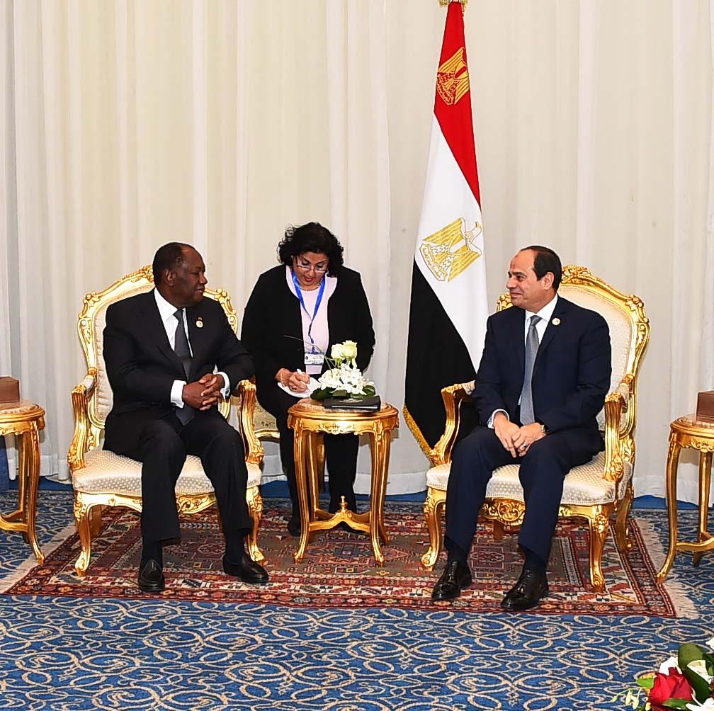 السيسي يستقبل رئيس ساحل العاج بشرم الشيخ