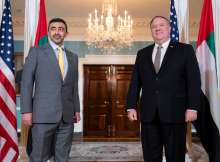 H.H. Sheikh Abdullah bin Zayed Al Nahyan, Minister of Foreign Affairs and International Cooperation and US Secretary of State Mike Pompeo